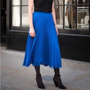 J Crew Cobalt Blue Pleated Midi Skirt